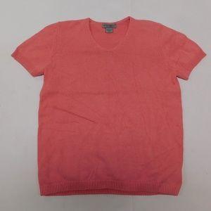 Eddie Bauer M Pink V Neck Top Sweater Cotton